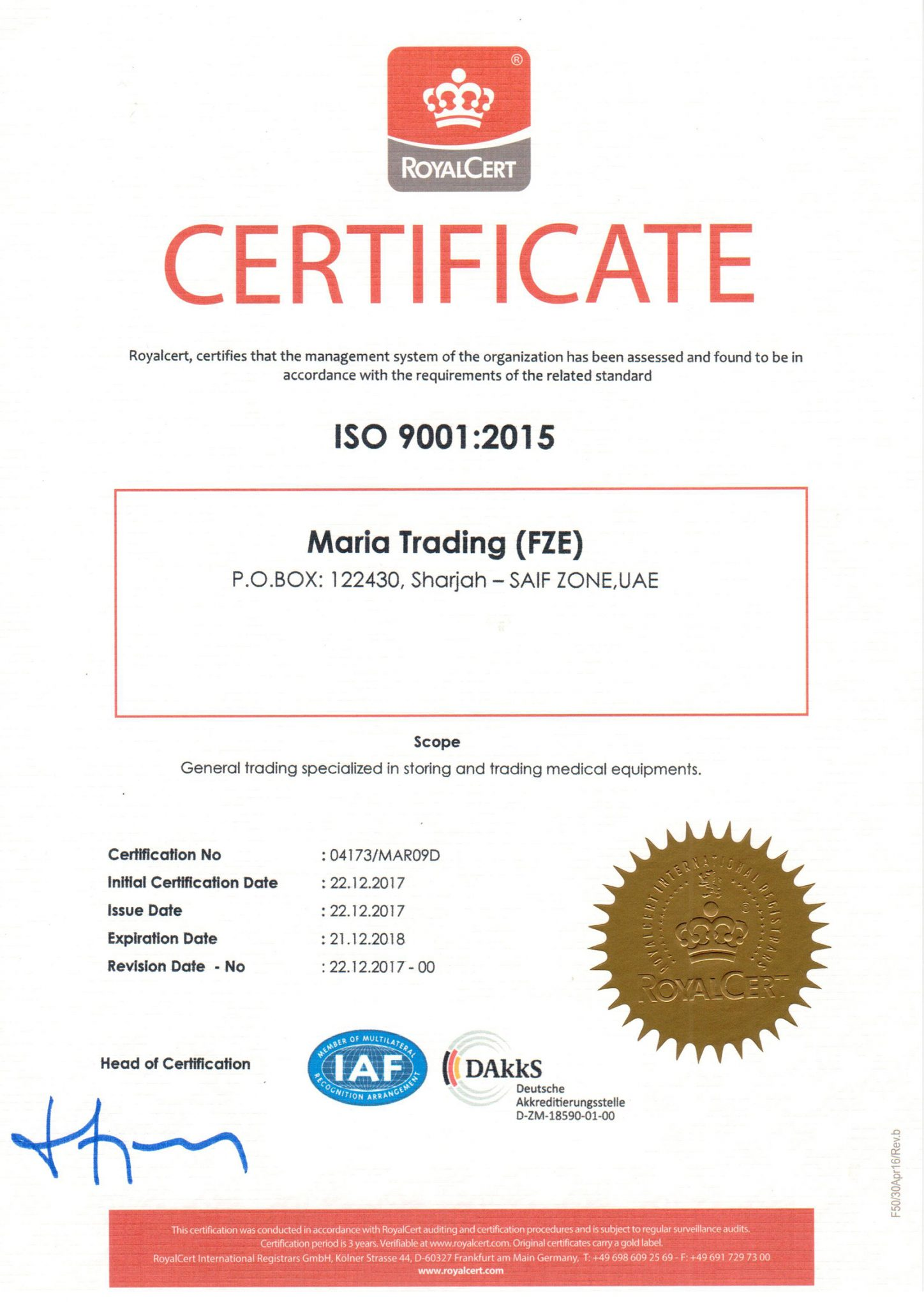 maria trading an ISO Certified Company
